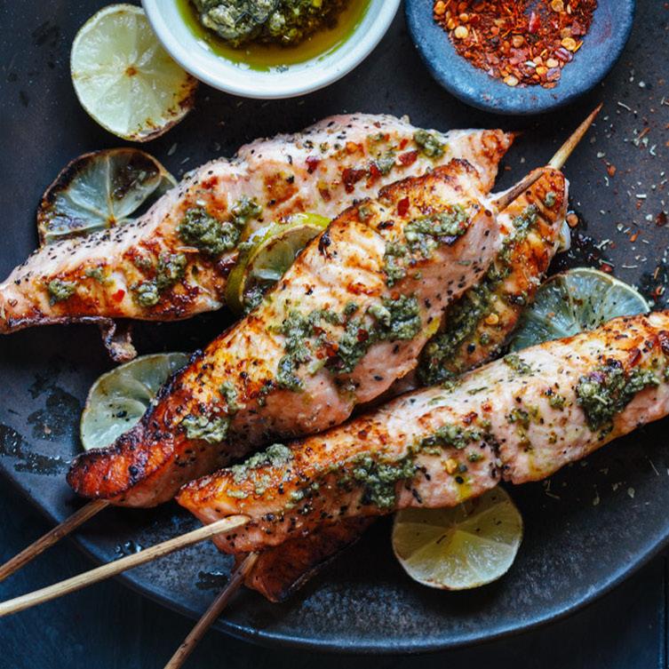 Bbq Salmon Skewers With Crunchy Slaw Recipe