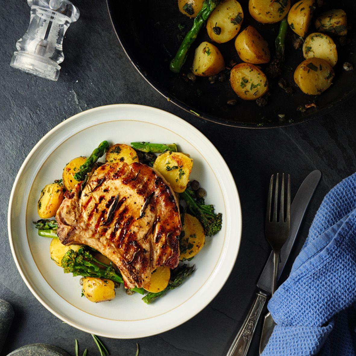 Char-grilled pork chops with garlic sautéed potatoes.jpg