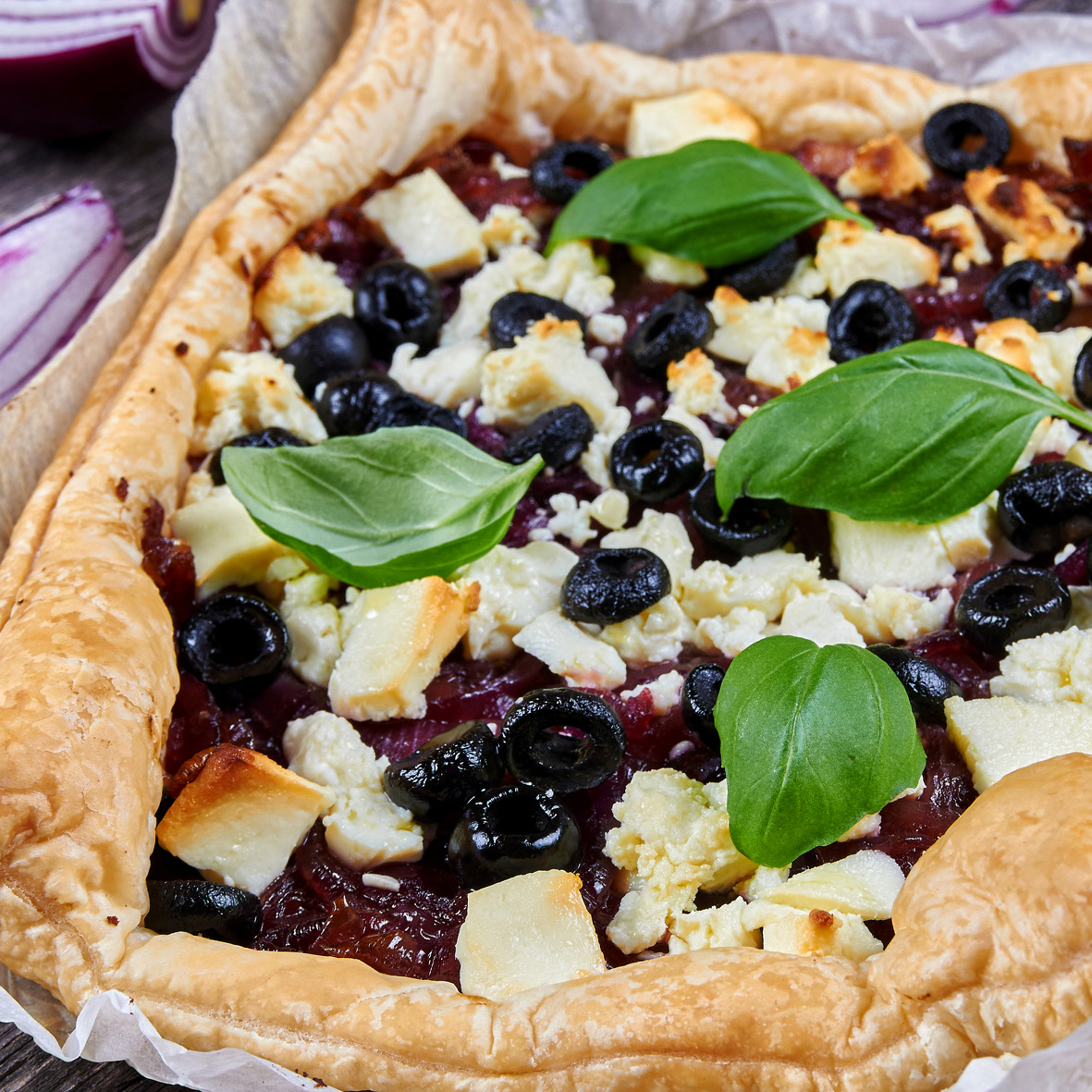 baked ricotta caramelised red onion prosciutto and blueberry tart.jpg